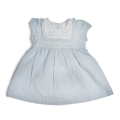 T&T Infant Girls Blue Woven Short Sleeve Dress 810120-311