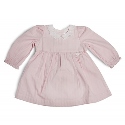 T&T Infant Girls Pink Woven Long Sleeve Dress 810120-312