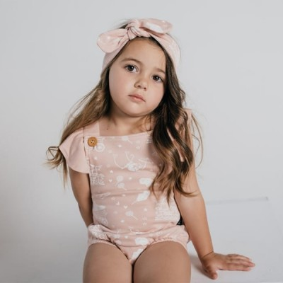 Aster & Oak Summer Collection Peach Circus Ruffle Playsuit