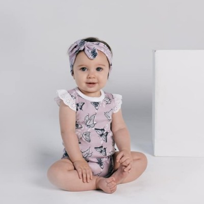 Aster & Oak Summer Collection Butterfly AOP Lace Flutter Onesie