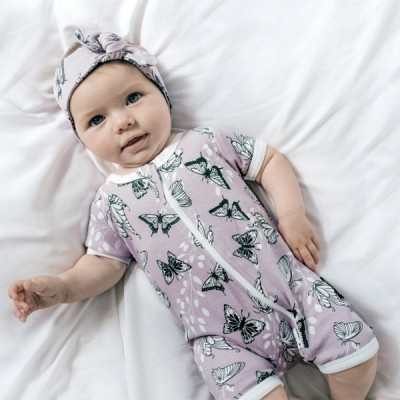 Aster & Oak Summer Collection Butterfly Short Zip Romper