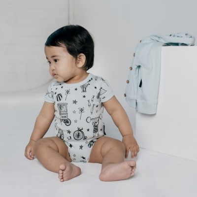 Aster & Oak Summer Collection Mint Circus AOP Onesie