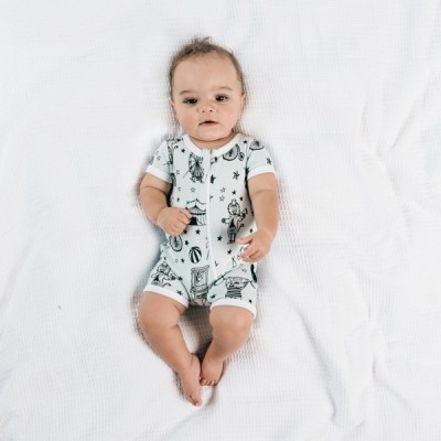 Aster & Oak Summer Collection Mint Circus Short Zip Romper