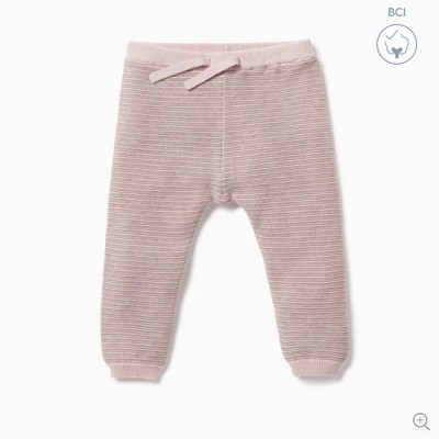 Baby Mori Biscuit & Blush Stripe Knitted Jogger