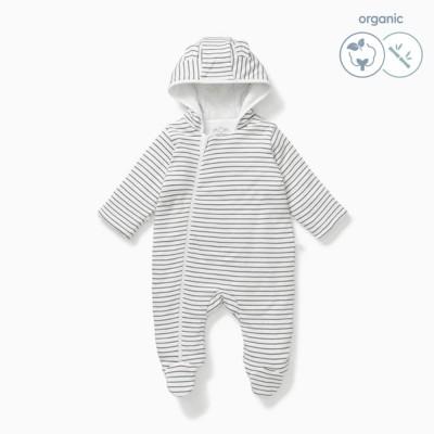 Baby Mori Grey Stripe Snugsuit