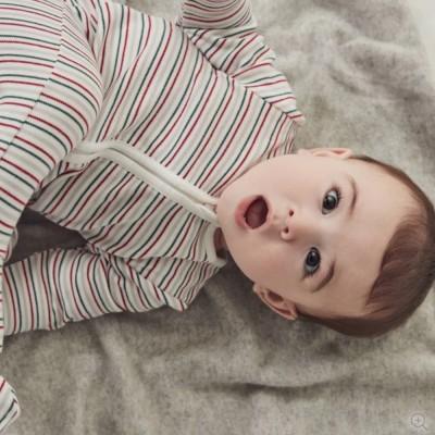 Baby Mori Seasonal Stripe Sleepsuit