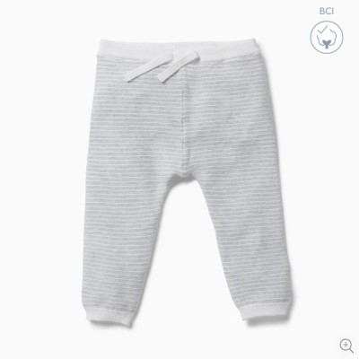 Baby Mori Silver Stripe Knitted Jogger