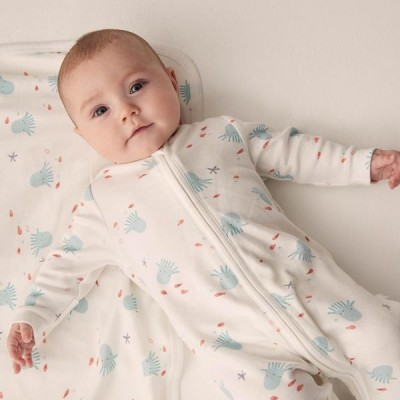 Baby Mori Octopus Zip-Up Sleepsuit