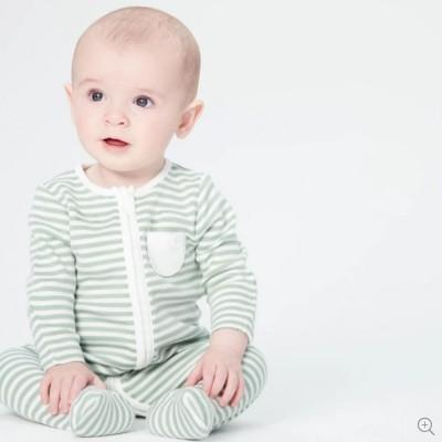 Baby Mori Sage Stripe Zip-up Sleepsuit