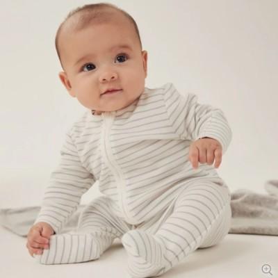 Baby Mori Teal Stripe Zip-up Sleepsuit
