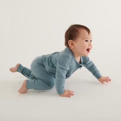 Baby Mori Ribbed Zip-Up Sleepsuit